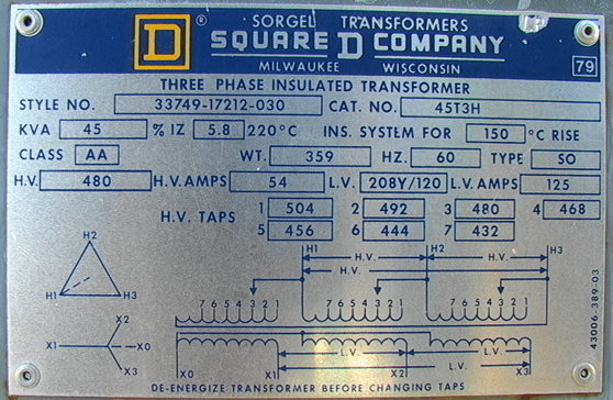 Square D Transformer Wiring Diagram : Square d kva phase transformer delta to
